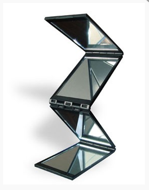Foldable 4 sided mirror for hair fibers application